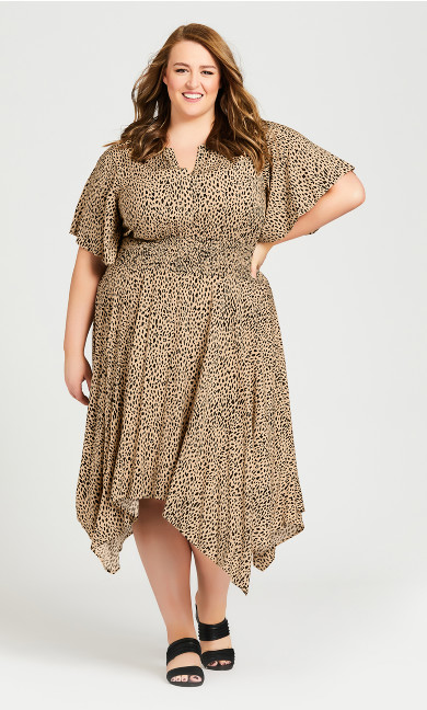 Plus Size Winner Waist Dress - toffee