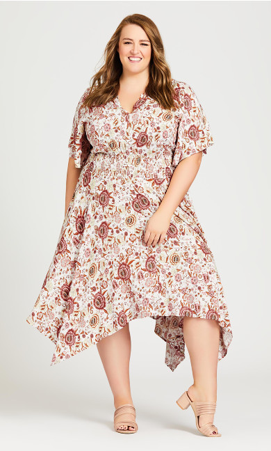 Plus Size Winner Waist Dress - ivory