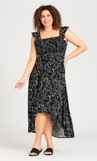 Plus Size Shirred Cap Dress - black