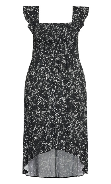 Shirred Cap Dress - black