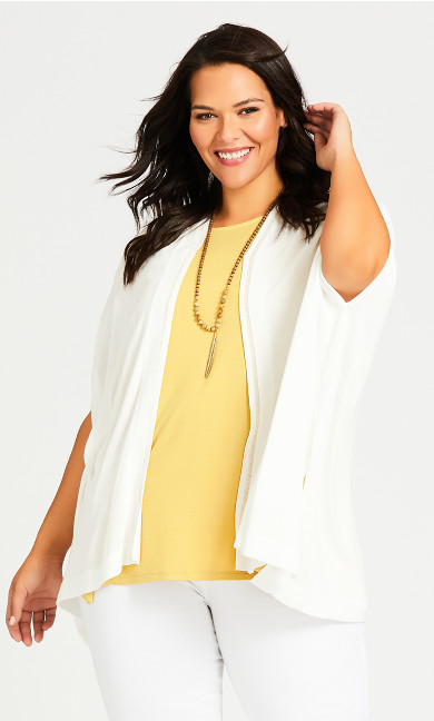 Plus Size Fray Insert Cardigan - white