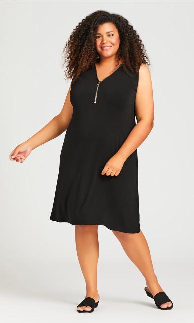 Plus Size Bold Zip Plain Dress - black