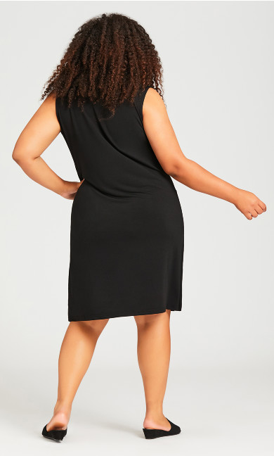 Bold Zip Plain Dress - black
