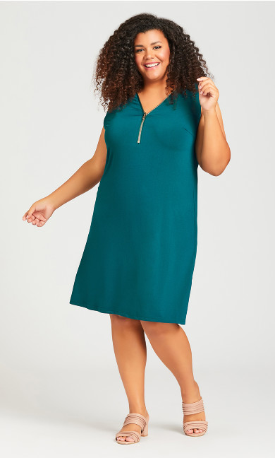 Plus Size Bold Zip Plain Dress - teal