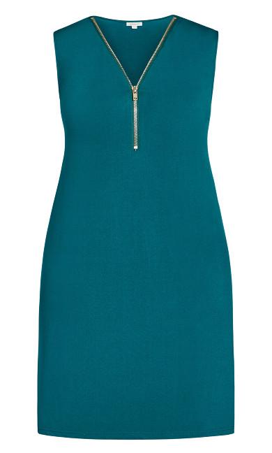 Bold Zip Plain Dress - teal