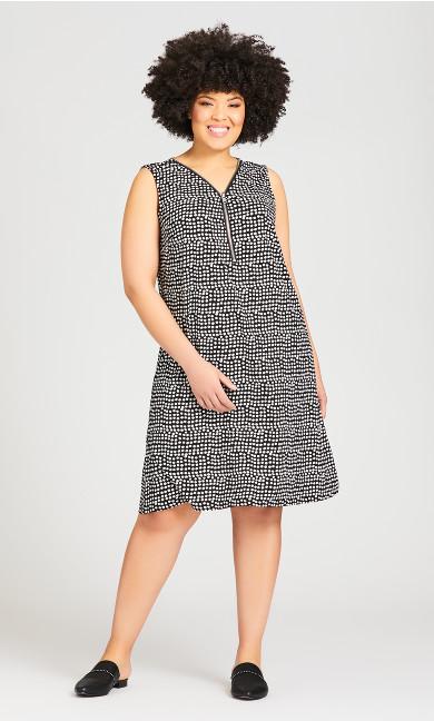 Plus Size Bold Zip Print Dress - black