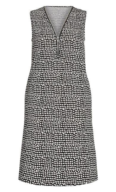 Bold Zip Print Dress - black