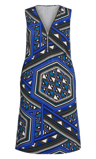 Bold Zip Print Dress - cobalt