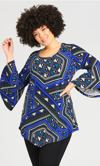 Plus Size Bell Sleeve Print Tunic - cobalt