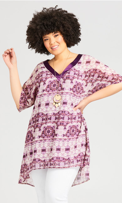 Plus Size Kaftan Feel Tunic - magenta