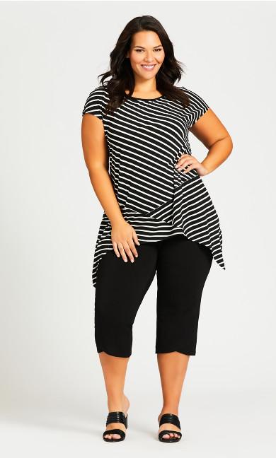 Plus Size Knit Crop Cross Hem Pant - black