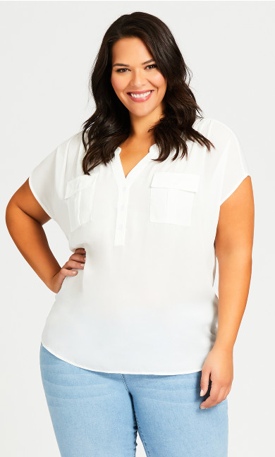 Plus Size Mixed Media Pocket Top - ivory