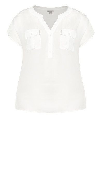 Mixed Media Pocket Top - ivory