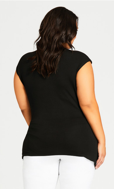 Boatneck Stud Top - black