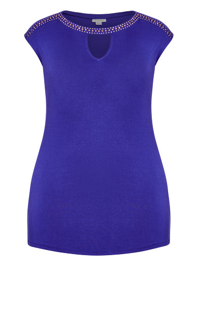 Boatneck Stud Top - violet