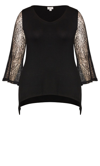Lace Sequin Top - black