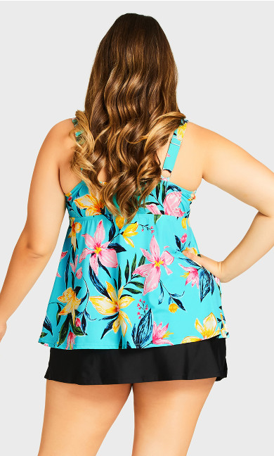 Triple Tier Tankini Top - aqua