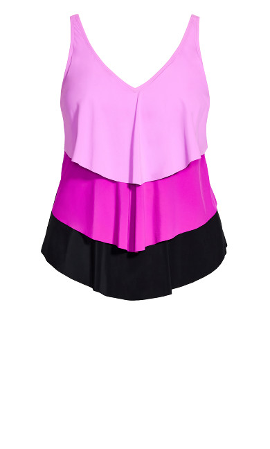 Triple Tier Tankini Top - purple