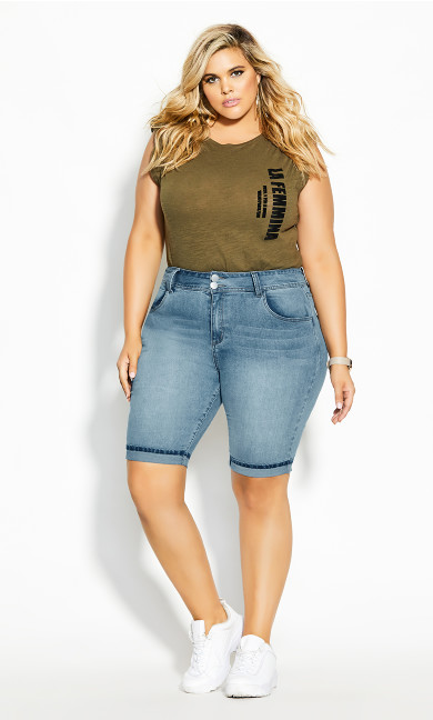 Plus Size Killer Pins Short - denim