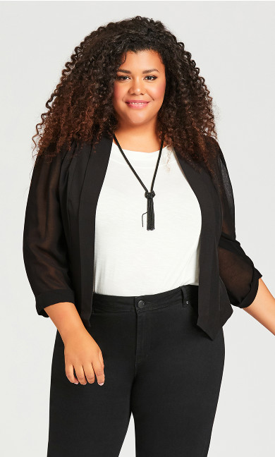 Plus Size Drape Front Blazer - black