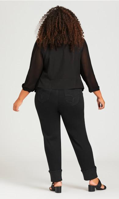 Drape Front Blazer - black