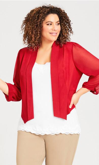 Plus Size Front Drape Blazer - red