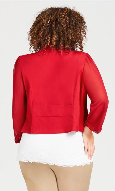 Front Drape Blazer - red