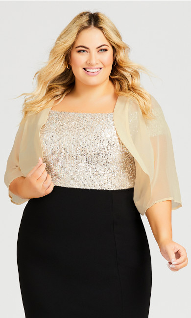Plus Size Chiffon Shrug - cream