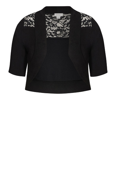 Lace Trim Shrug - black
