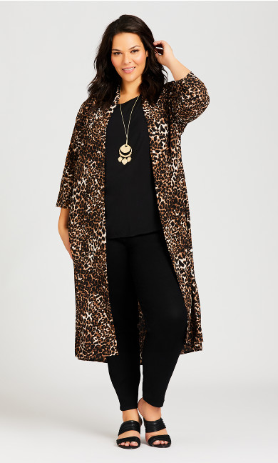 Plus Size Long Animal Kimono - animal