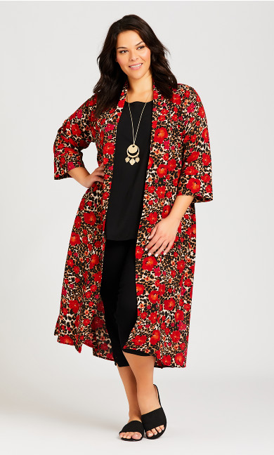 Plus Size Long Animal Kimono - animal floral