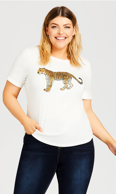 Plus Size Slogan Tee - white cheetah