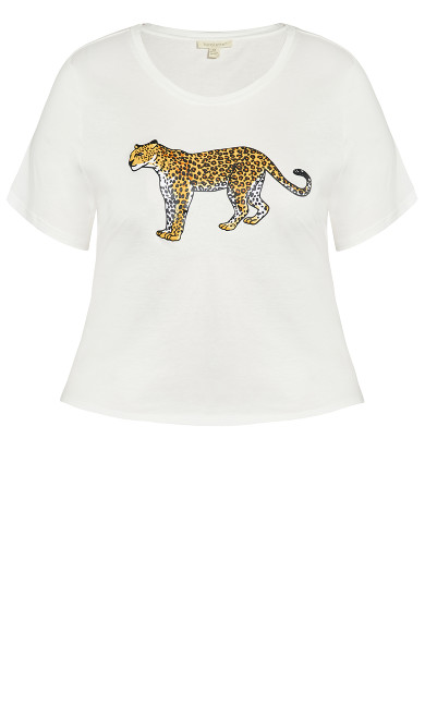 Slogan Tee - white cheetah