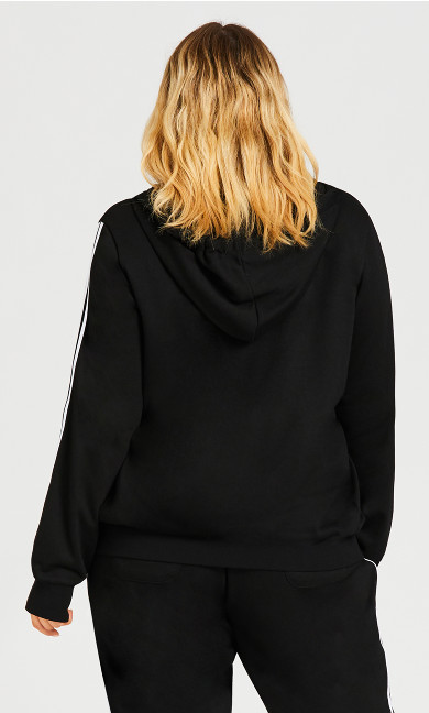 Zip Up Plain Hoodie - black