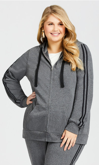 Plus Size Plain Zip Up Hoodie - charcoal