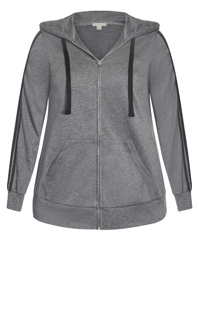 Plain Zip Up Hoodie - charcoal