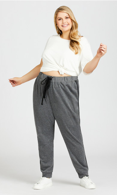 Plus Size Plain Knit Pant - charcoal