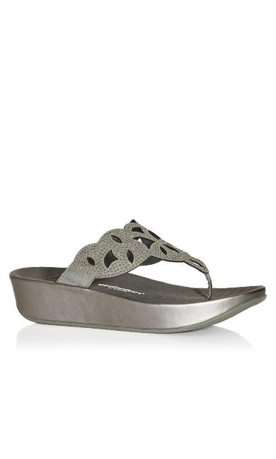 Plus Size Faye Thong Sandal - gray