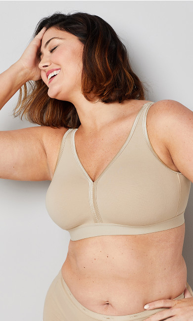 Plus Size Basic Cotton Bra - beige