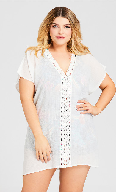 Plus Size Crepe Kaftan Cover Up - white