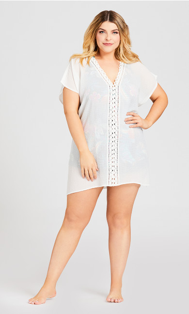 Crepe Kaftan Cover Up - white