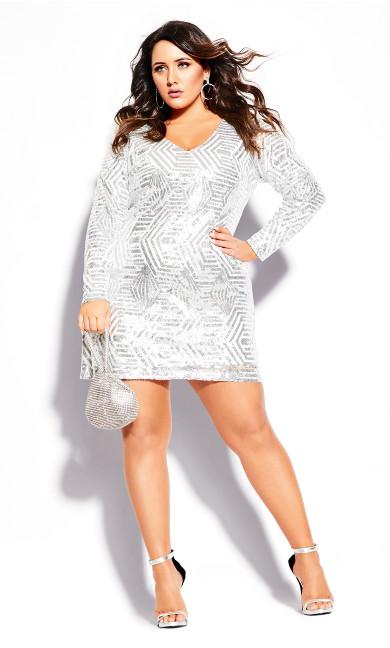 Plus Size Bright Lights Dress - white