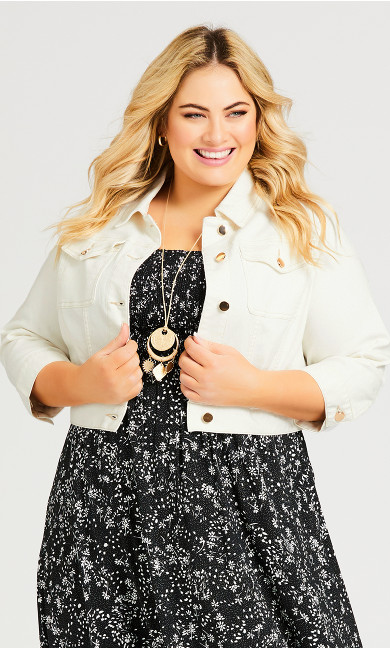 Plus Size Denim Crop Jacket - ivory