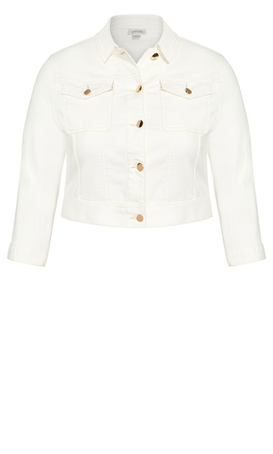 Denim Crop Jacket - ivory