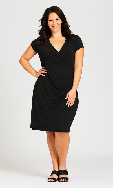 Plus Size Donna Plain Dress - black