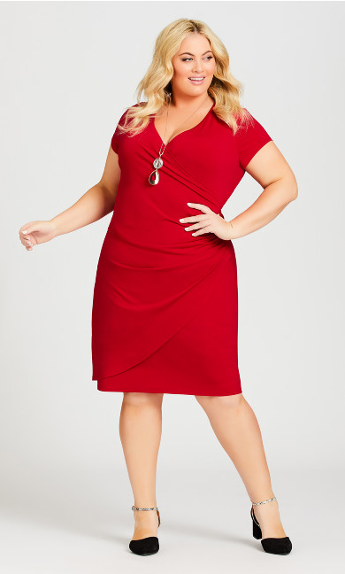Plus Size Donna Plain Dress - ruby