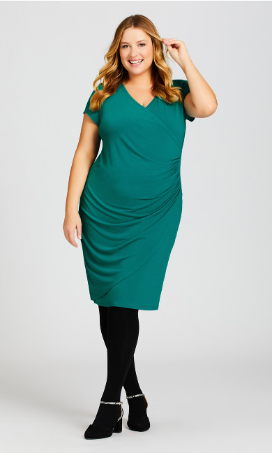 Plus Size Donna Plain Dress - teal