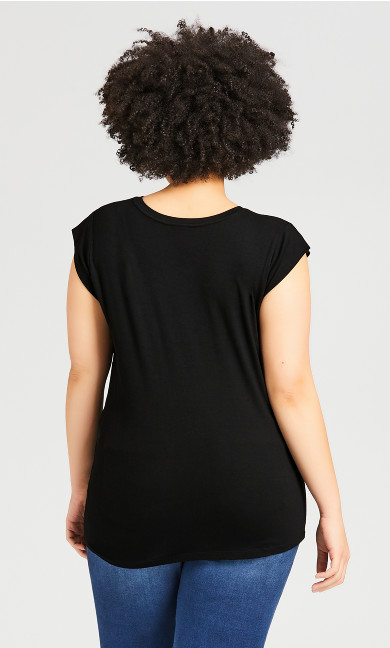 Gather Up Plain Top - black
