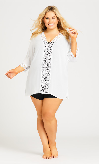 Plus Size Crinkle Cover Cover Up - white