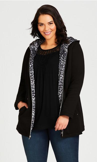 Plus Size Printed Cuff Jacket - black